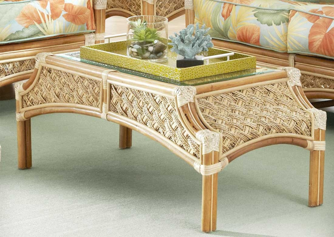 Aloha Rattan Cocktail Table intended for Natural Cane Media Console Tables (Image 3 of 30)