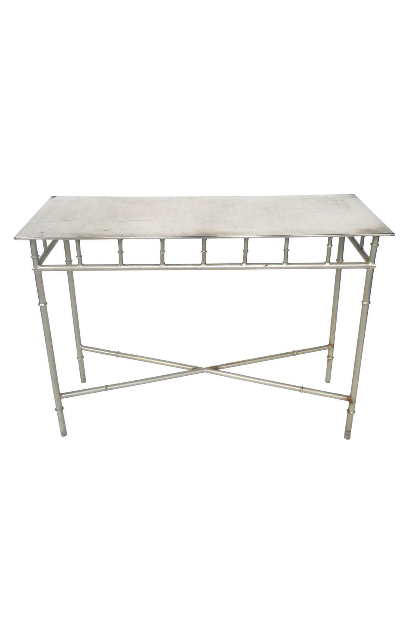 Aluminum Faux Bamboo Console Table | Bits & Pieces | Console Table Throughout Kyra Console Tables (View 23 of 30)