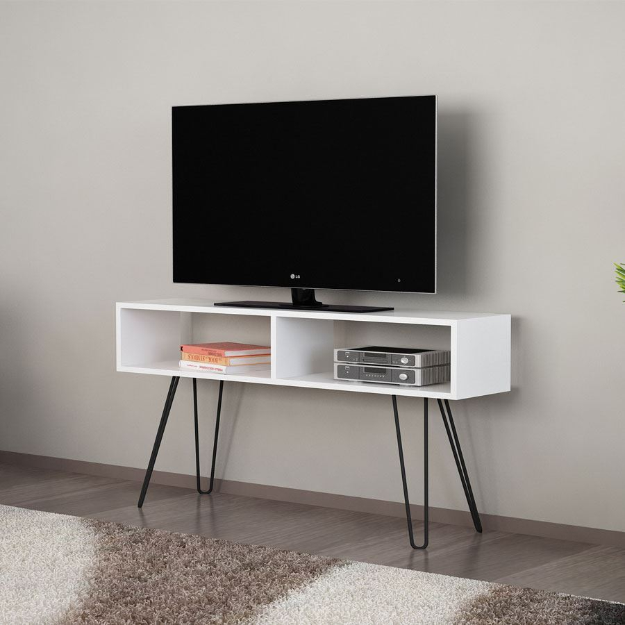 Alya Metal Ayaklı Tv Ünitesi | Beyaz | Koçtaş Within Cato 60 Inch Tv Stands (View 18 of 30)