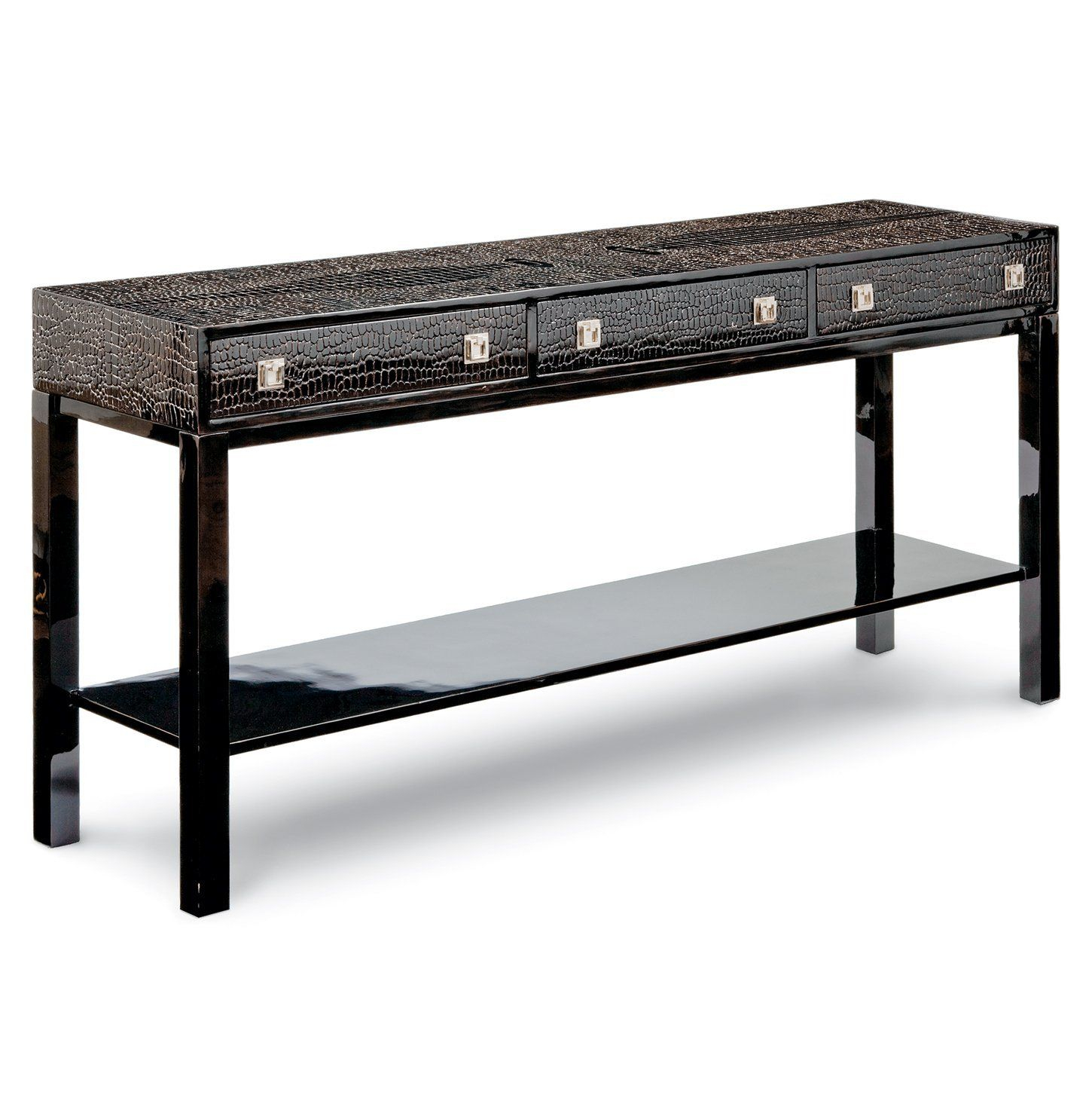 Amazon - Irwin Hollywood Regency Brown Faux Crocodile Lacquer within Ventana Display Console Tables (Image 3 of 30)