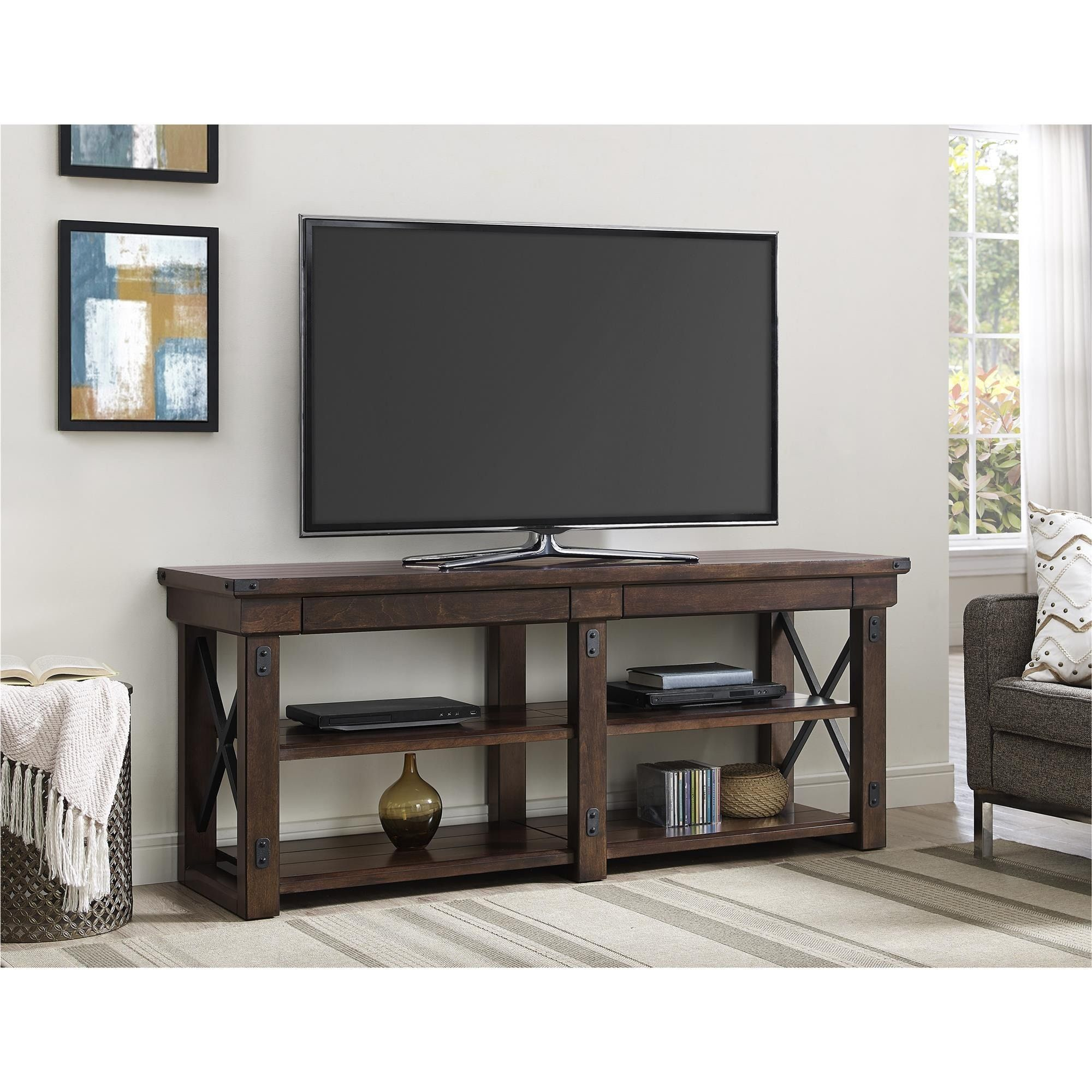 Ameriwood Home Wildwood Mahogany Veneer 65 Inch Tv Stand (65 Inch Tv Within Casey Grey 74 Inch Tv Stands (View 5 of 30)