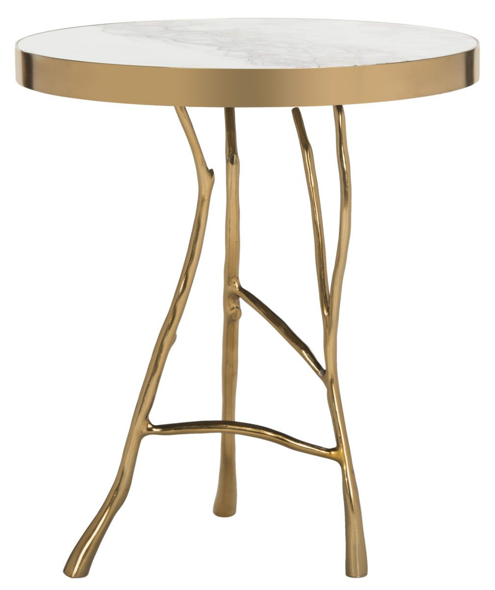 Amparo Marble Round End Table – Safavieh | Hamptons | Pinterest With Elke Marble Console Tables With Polished Aluminum Base (View 8 of 30)