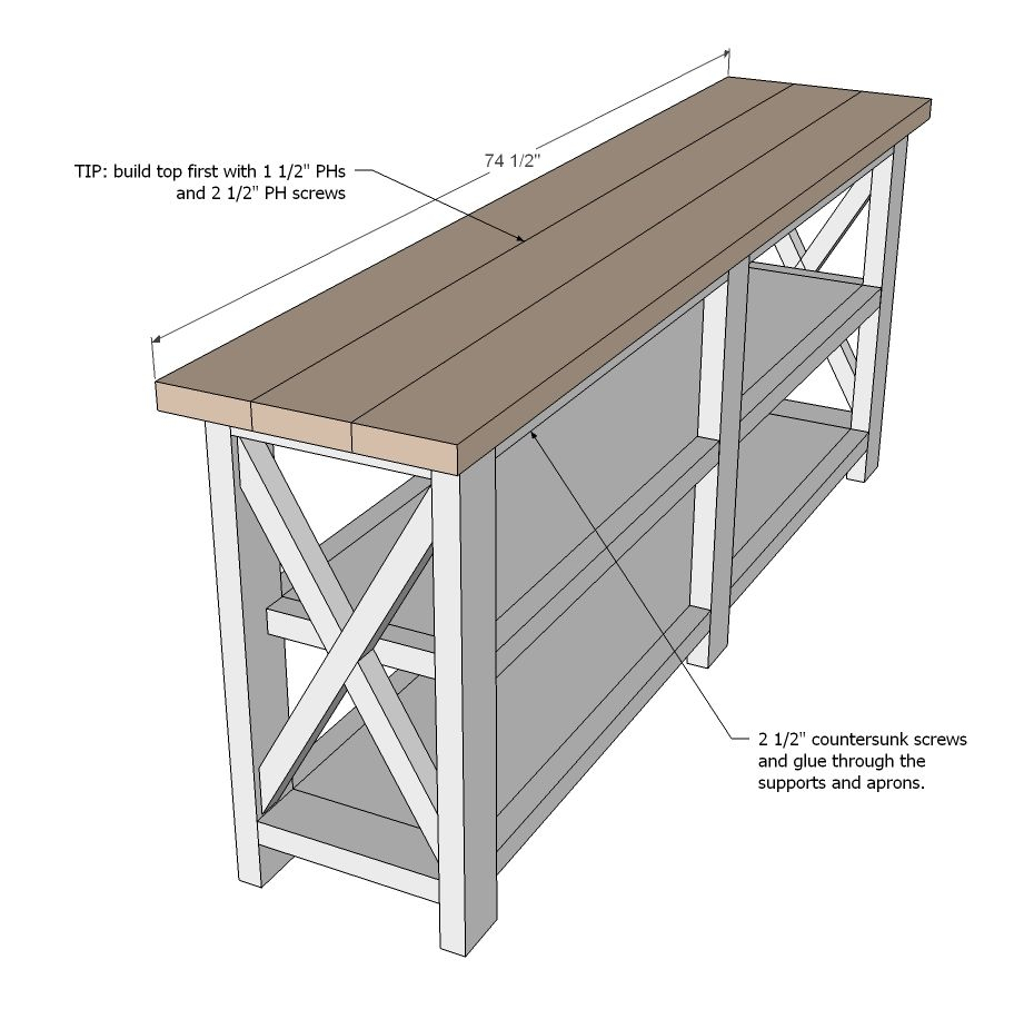 Ana White | Build A Rustic X Console | Free And Easy Diy Project And regarding Walters Media Console Tables (Image 4 of 30)