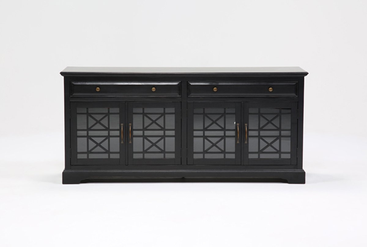 Annabelle Black 70 Inch Tv Stand | Living Spaces throughout Maddy 70 Inch Tv Stands (Image 2 of 30)