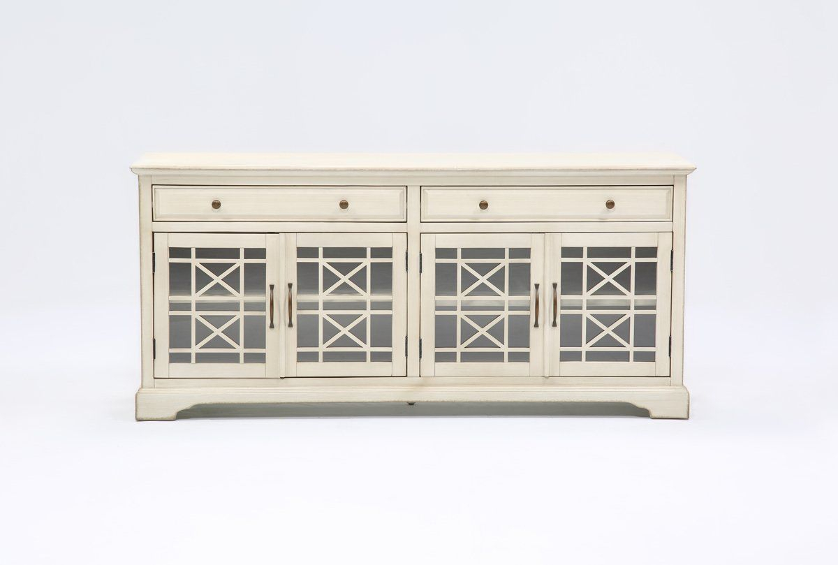 Annabelle Cream 70 Inch Tv Console - Living Spaces | Living Dining in Annabelle Black 70 Inch Tv Stands (Image 9 of 30)