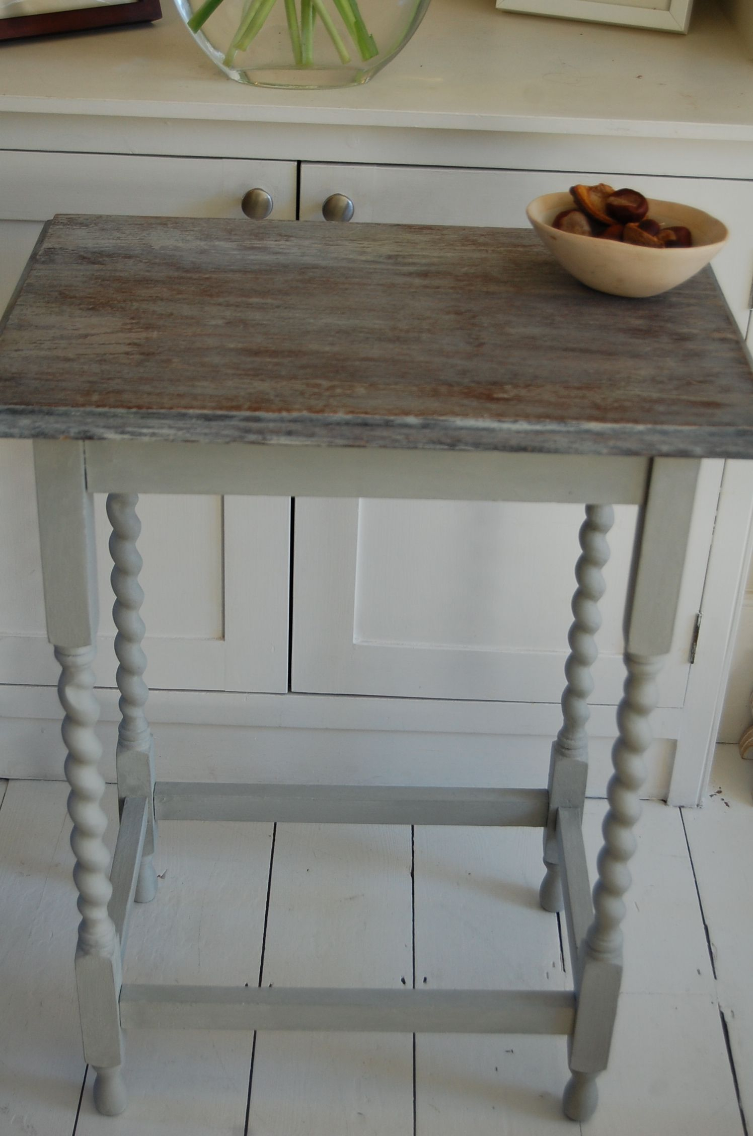 Annie Sloan, Paris Grey, Limed, Stripped, Barley Twist Legs, Side With Regard To Hand Carved White Wash Console Tables (View 7 of 30)