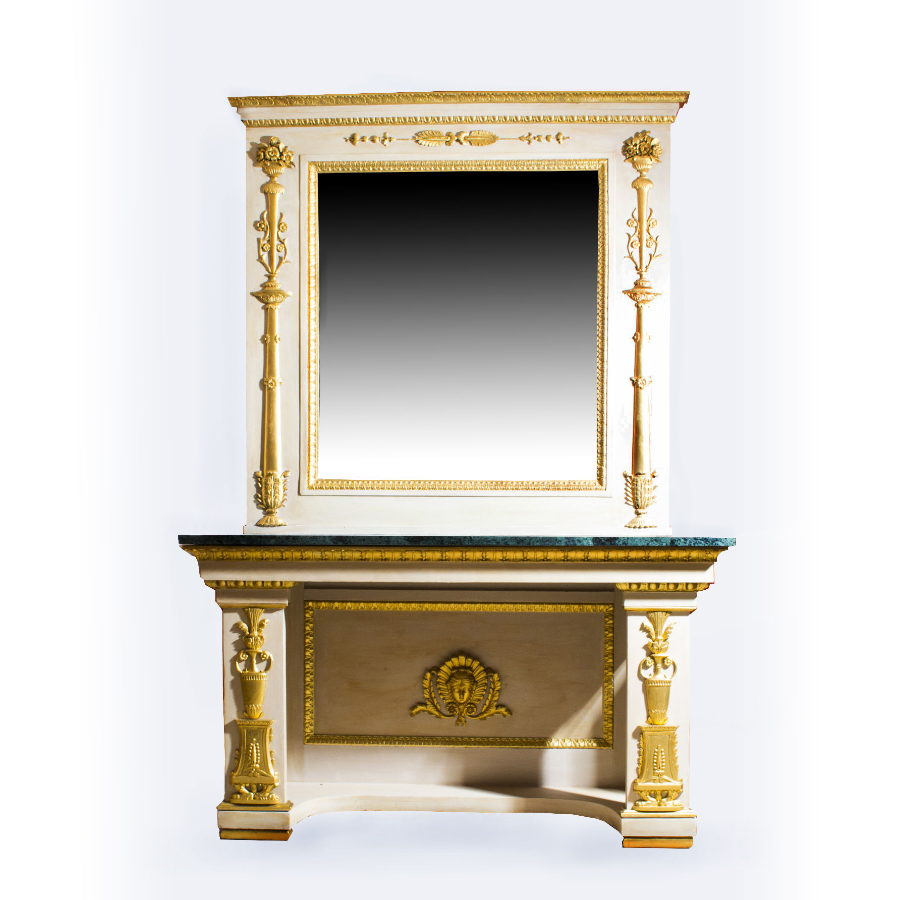 Antique Roman Console Table With Mirror & Marble Top 248 X 168 Cm (c Throughout Roman Metal Top Console Tables (View 15 of 30)