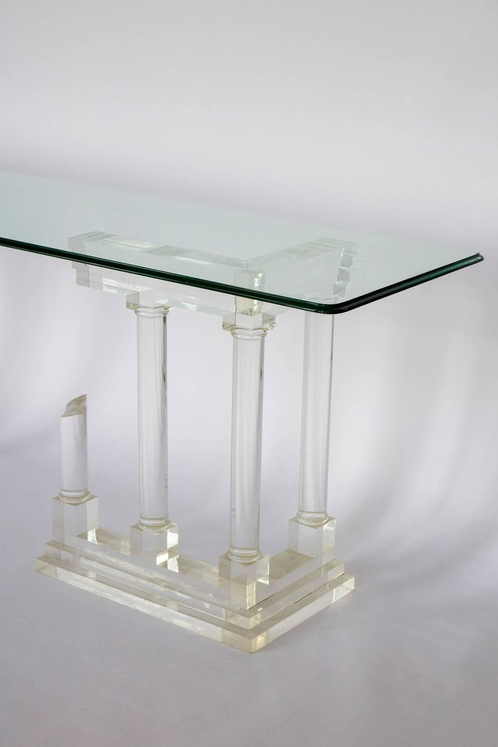 Architectural Pillar Console Table In Perspex Lucite Columns, Mid With Regard To Era Glass Console Tables (View 19 of 30)