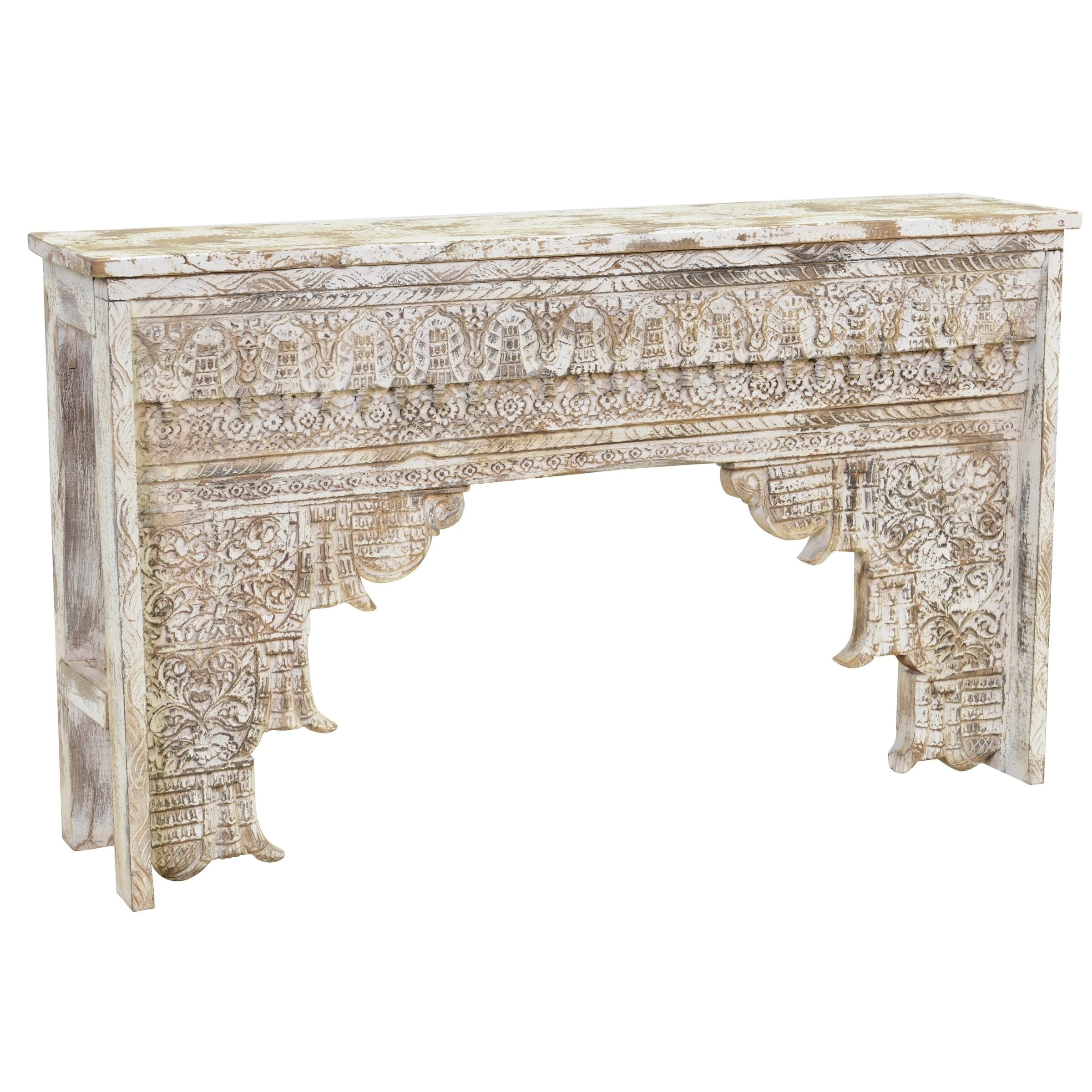 Ariel Hand Carved Antique White Wood Consolekosas Home Regarding Remi Console Tables (View 18 of 30)