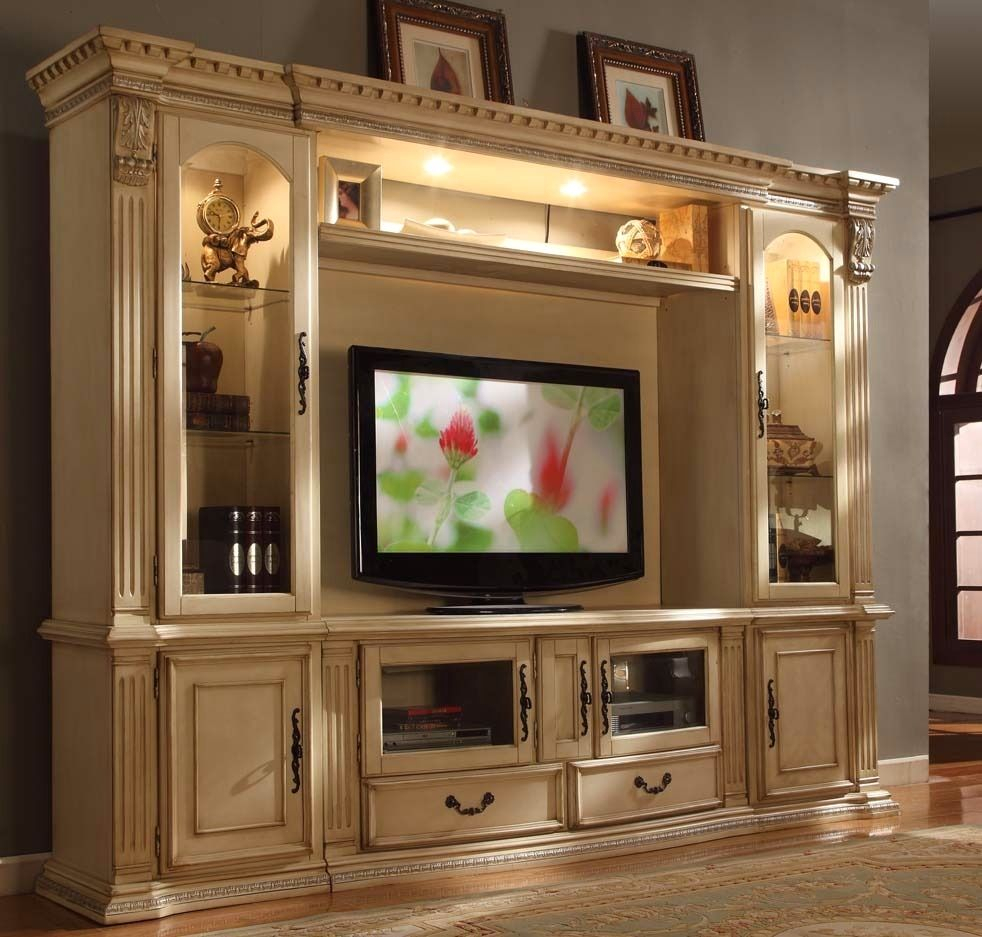 "Athens Classic Antique White 62"" Tv Entertainment Center Wall Unit Pertaining To Lauderdale 62 Inch Tv Stands (View 13 of 30)"