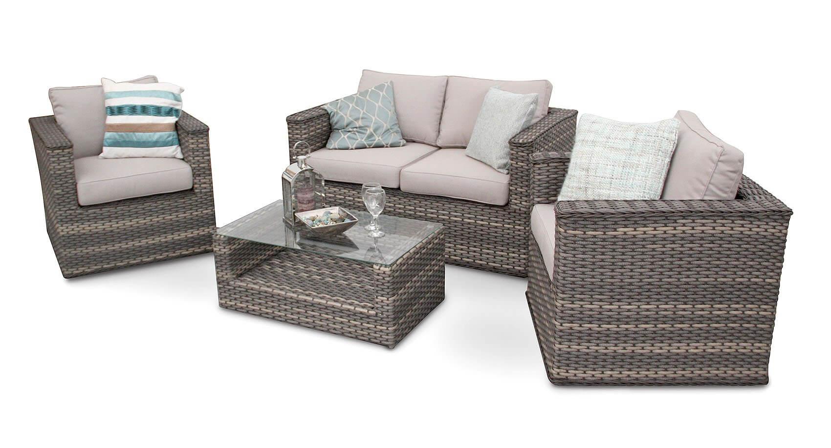 Bahia Modus Rattan Garden Sofa Furniture Set - Natural regarding Natural Cane Media Console Tables (Image 6 of 30)