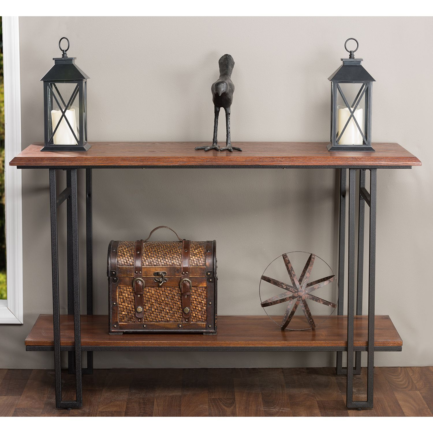 Baxton Studio Newcastle Wood And Metal Console Table (Accent Table in Yukon Grey Console Tables (Image 5 of 30)