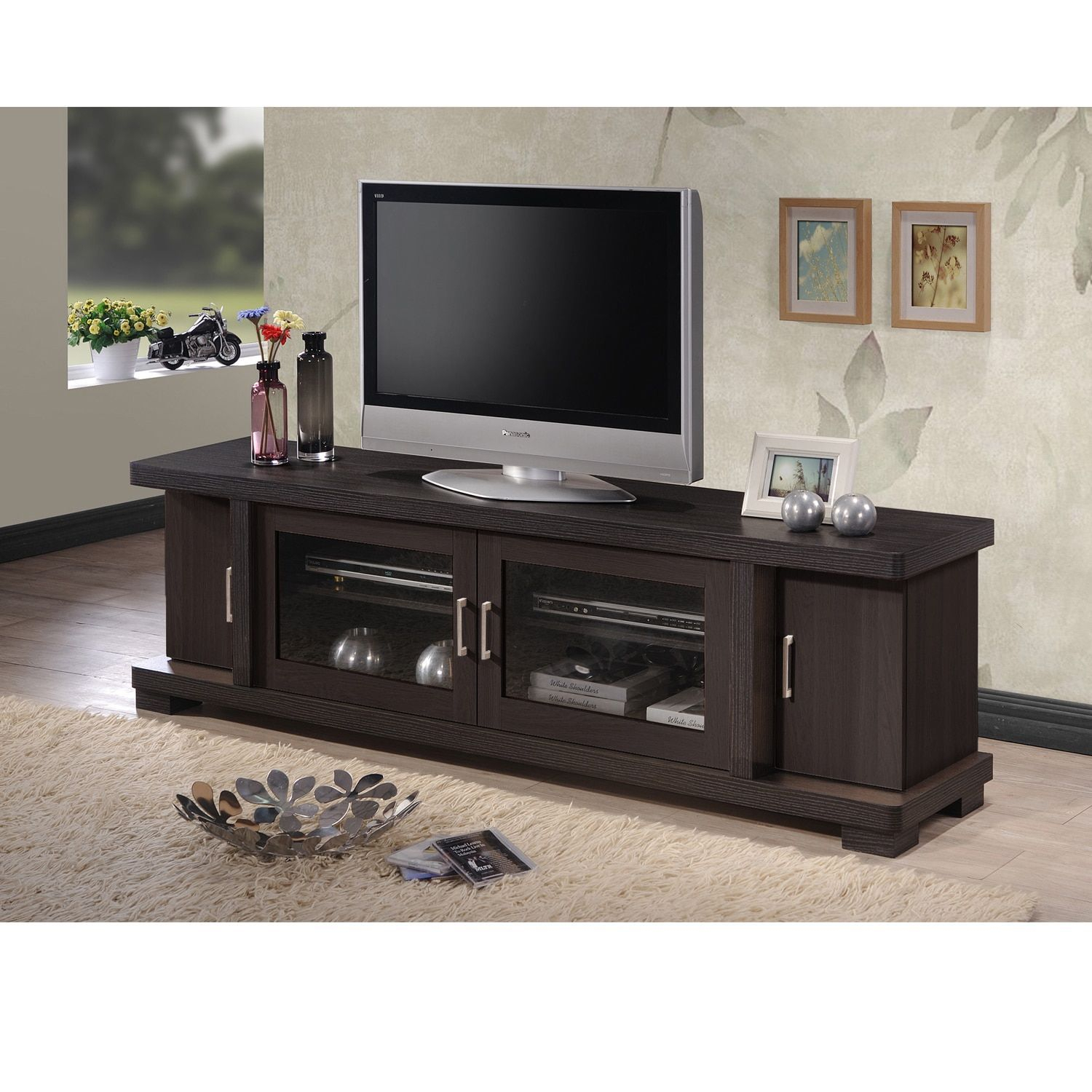 Baxton Studio Vega Contemporary 70 Inch Dark Brown Wood Tv Cabinet For Annabelle Cream 70 Inch Tv Stands (View 17 of 30)