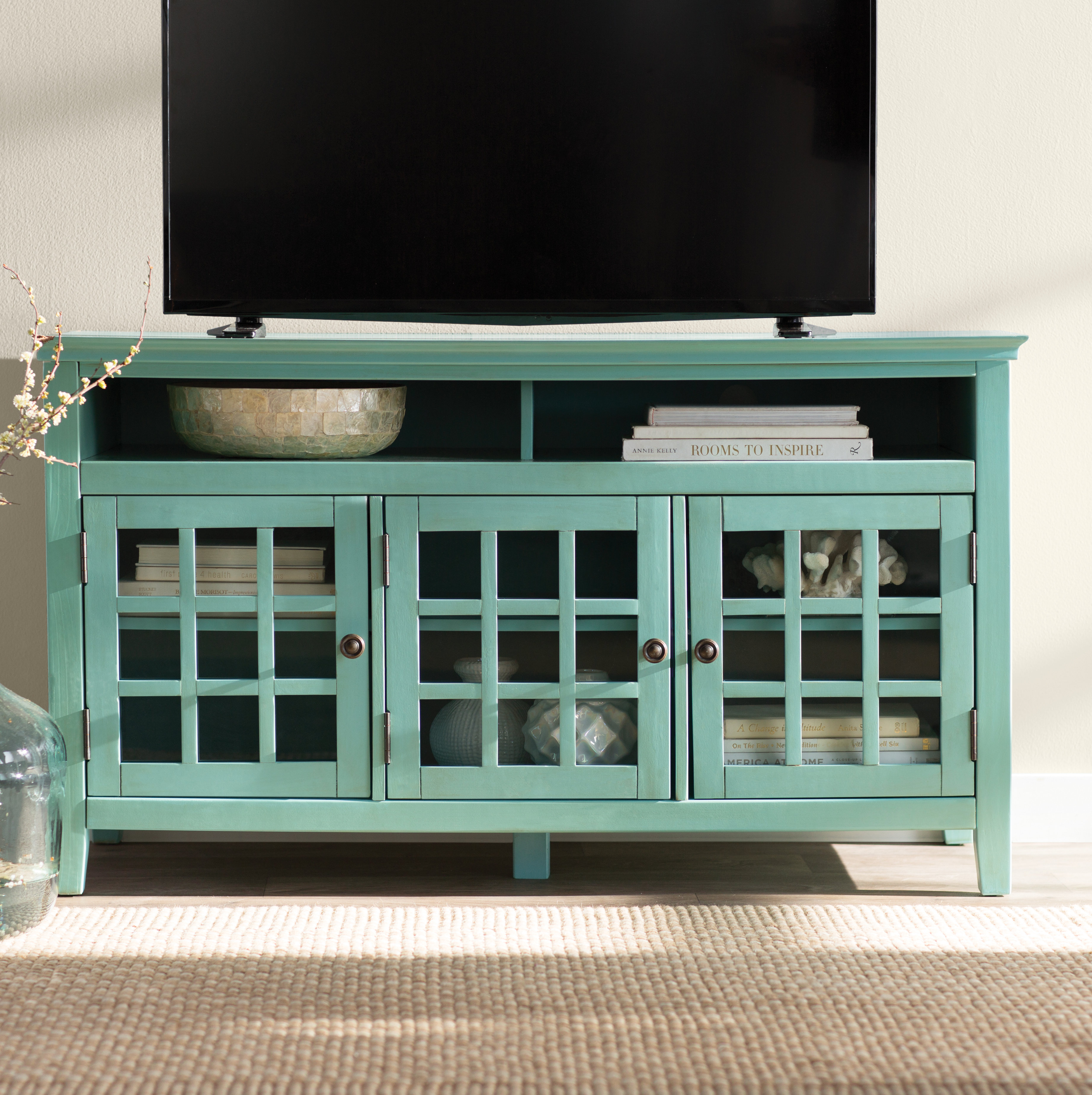 """Beachcrest Home Naples Park Tv Stand For Tvs Up To 55"""" & Reviews in Marvin Rustic Natural 60 Inch Tv Stands (Image 8 of 30)"""