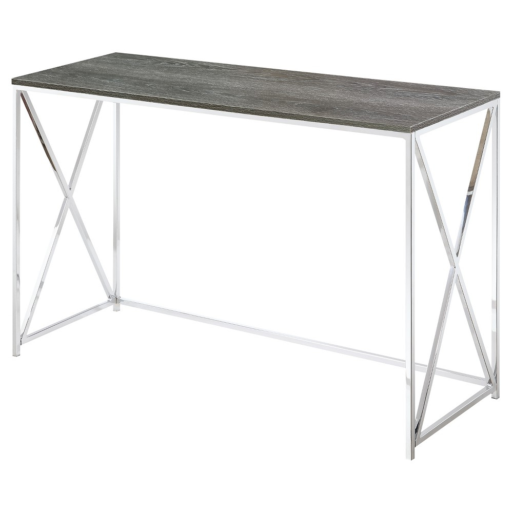 Belaire Console Table - Chrome - Weathered Gray - Convenience inside Yukon Grey Console Tables (Image 6 of 30)