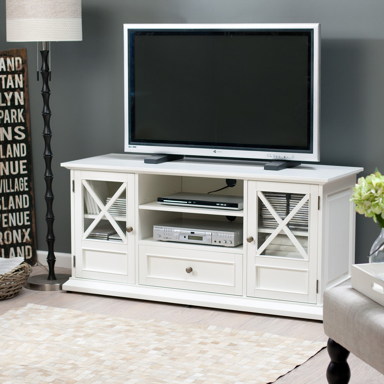Belham Living Hampton Tv Stand – White – Walmart For Century White 60 Inch Tv Stands (View 6 of 30)