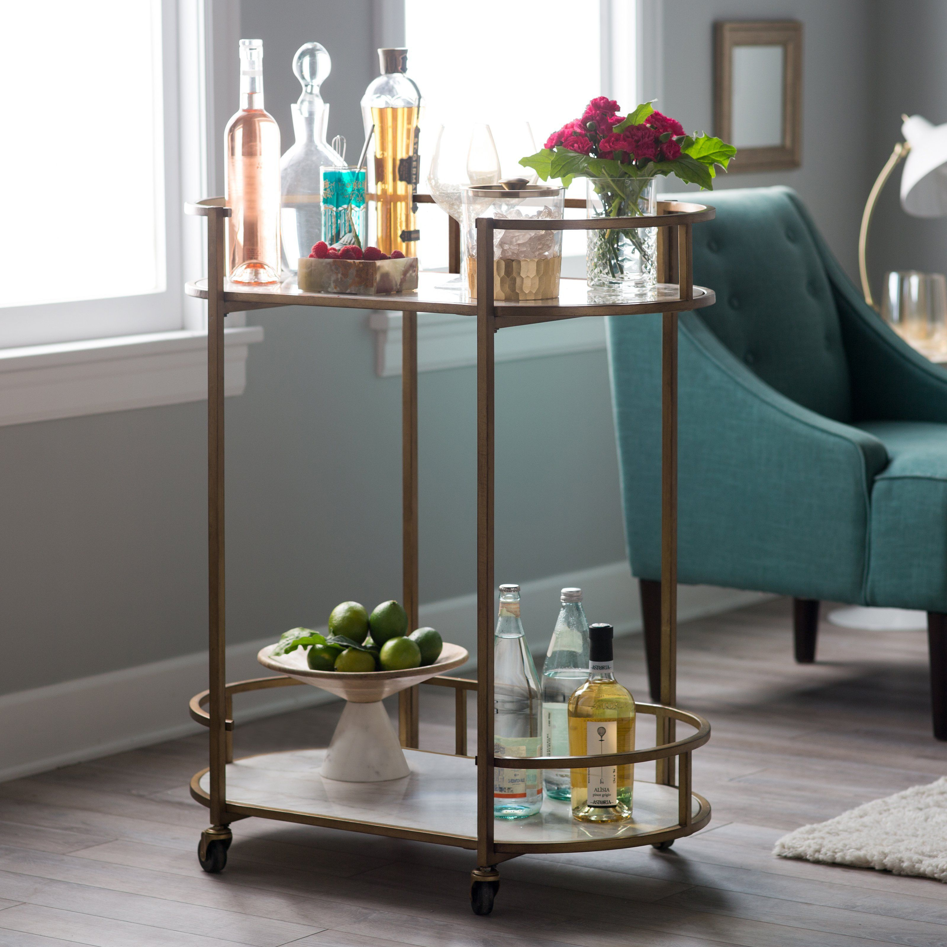 Belham Living Toscano Oval Bar Cart W/ Marble Shelves – Serving In Parsons Grey Solid Surface Top & Brass Base 48x16 Console Tables (View 24 of 30)