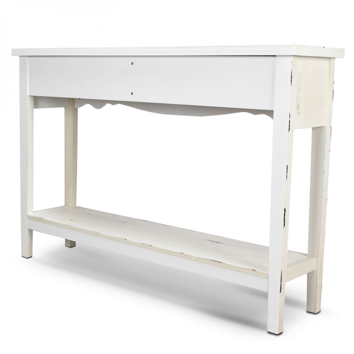 Belleze Hand Painted Distressed Antique White Finish Accent Console Inside Antique White Distressed Console Tables (View 23 of 30)