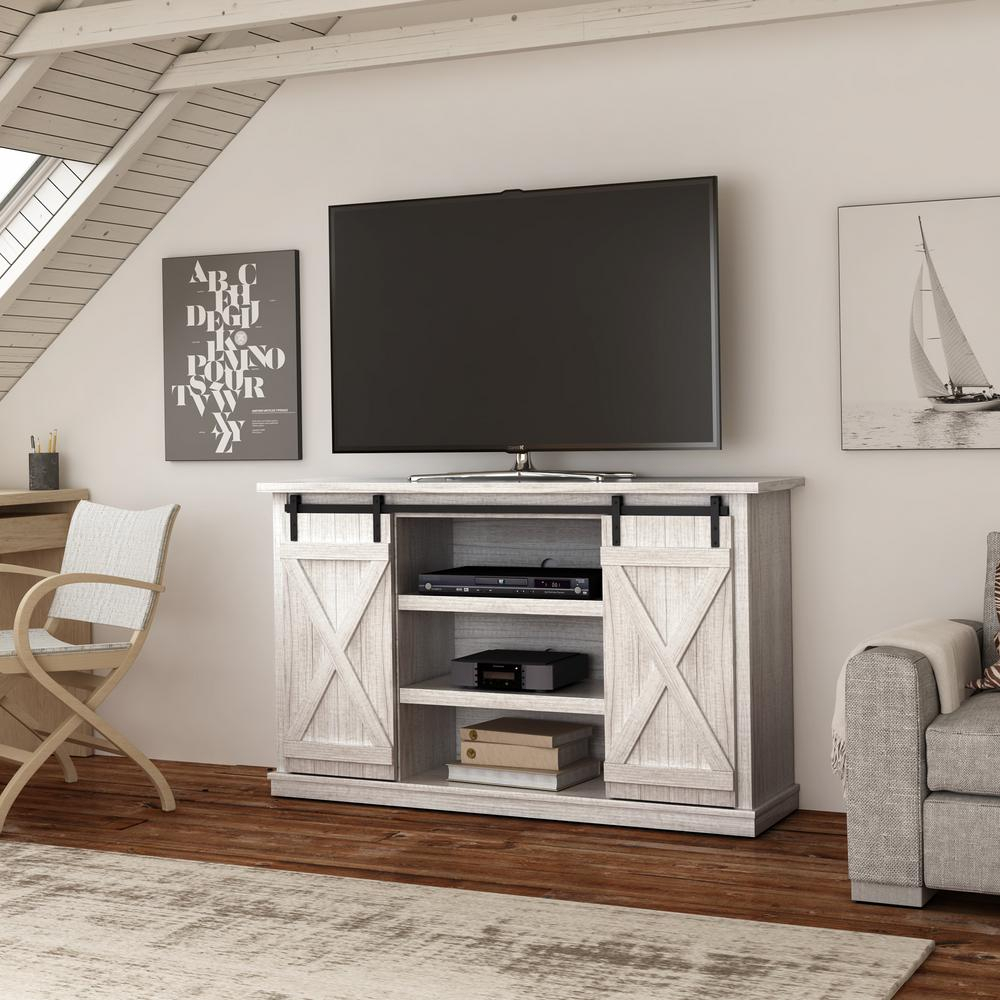 Bell'o Cottonwood Tv Stand For 60 In. Tvs In Sargent Oak And White regarding Century White 60 Inch Tv Stands (Image 7 of 30)