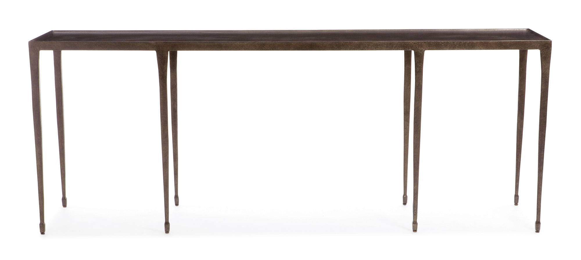 Bernhardt Console Table Halden 84 Inch Hammered Iron Distressed Throughout Silviano 84 Inch Console Tables (Gallery 2 of 30)