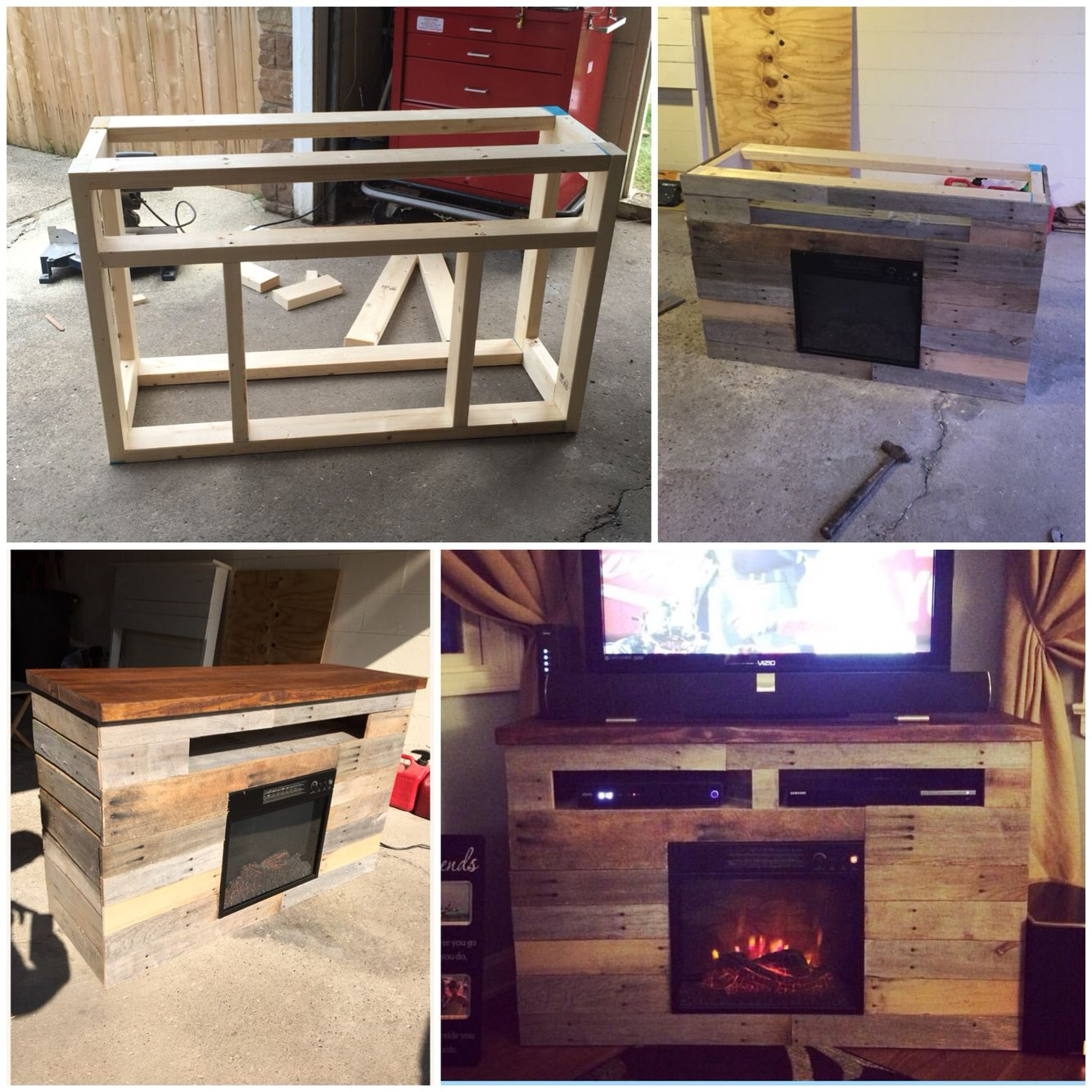 Best Pallet Projects | Homelife | Pinterest | Fireplace Tv Stand in Marvin Rustic Natural 60 Inch Tv Stands (Image 9 of 30)