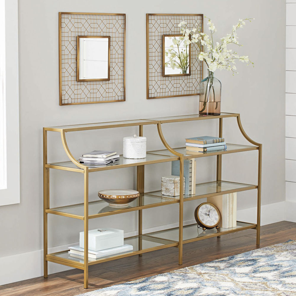 Better Homes Gardens Nola Console Table, Gold Finish 689413782828 | Ebay with Ventana Display Console Tables (Image 5 of 30)