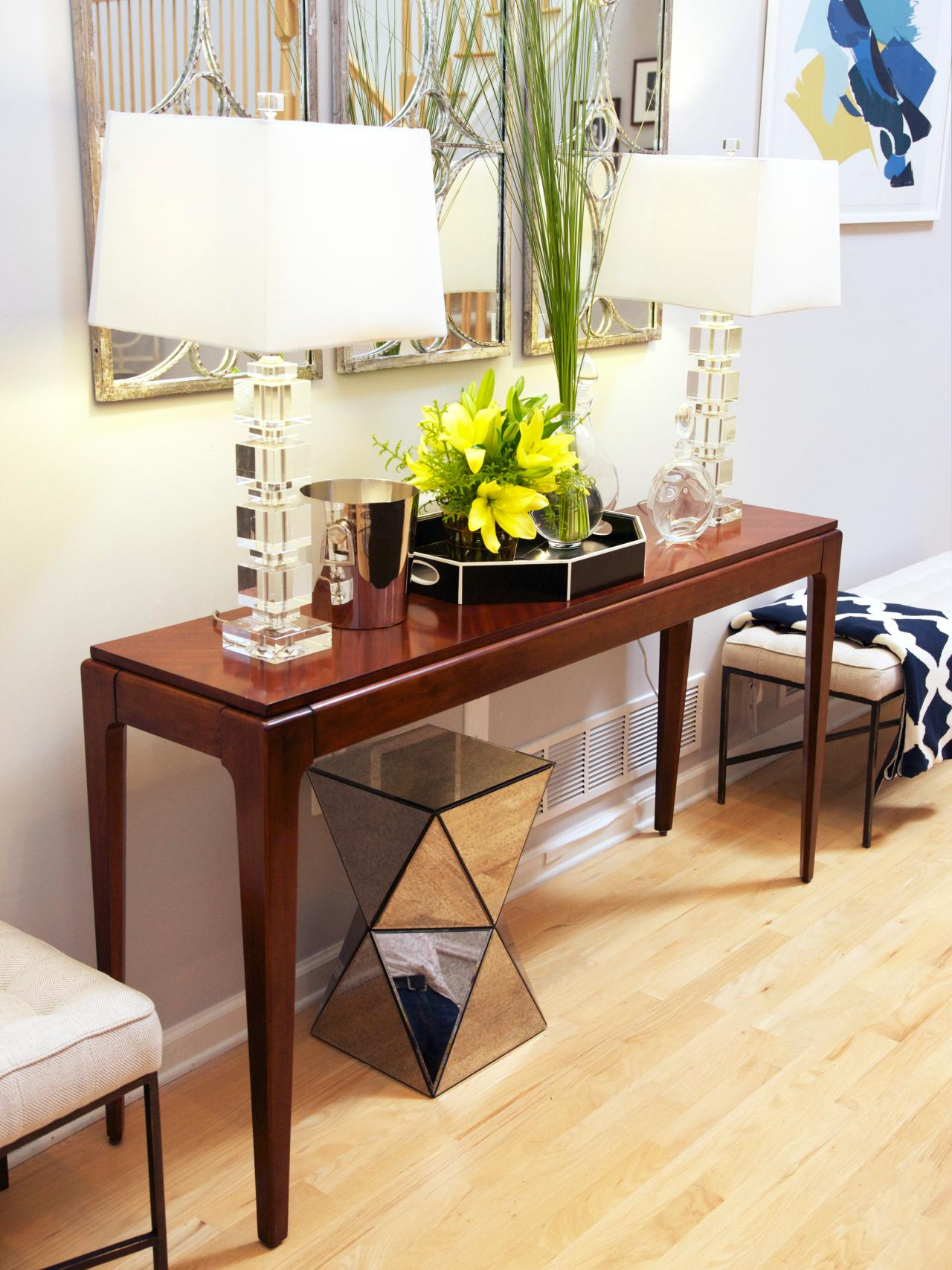Between Wood And Glass Long Console Tables | Homesfeed with Natural Wood Mirrored Media Console Tables (Image 5 of 30)
