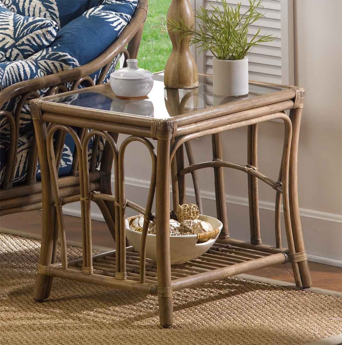 Bimini Natural Rattan Rectangular End Table with regard to Natural Cane Media Console Tables (Image 8 of 30)