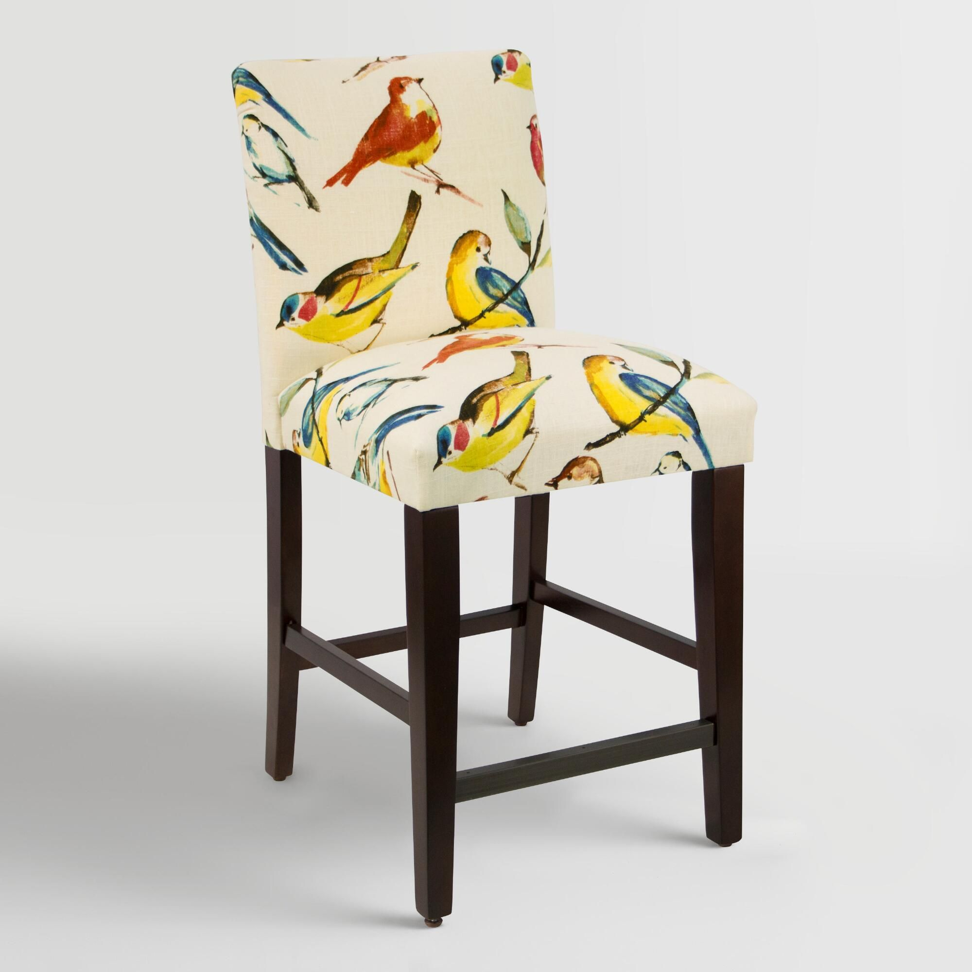 Bird Watcher Kerri Upholstered Counter Stool: Multi – Fabric Intended For Parsons White Marble Top & Elm Base 48x16 Console Tables (View 17 of 30)