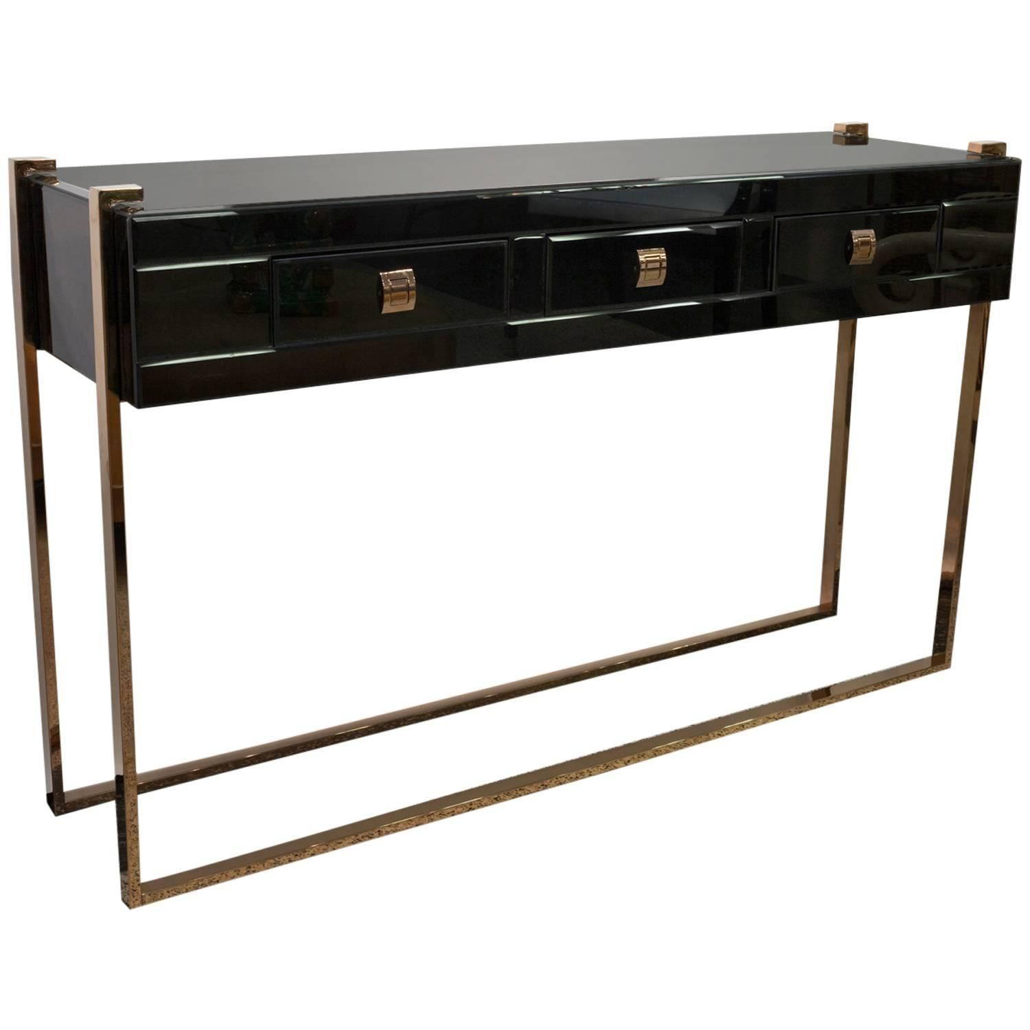Black Glass Console Table With Brass Details, Manner Of Jacques regarding Jacque Console Tables (Image 3 of 30)