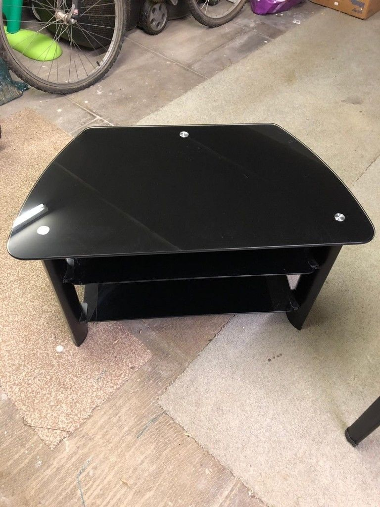 Black Glass Two Tier Tv Stand/cabinet | In Wakefield, West Yorkshire With Regard To Wakefield 97 Inch Tv Stands (View 13 of 30)