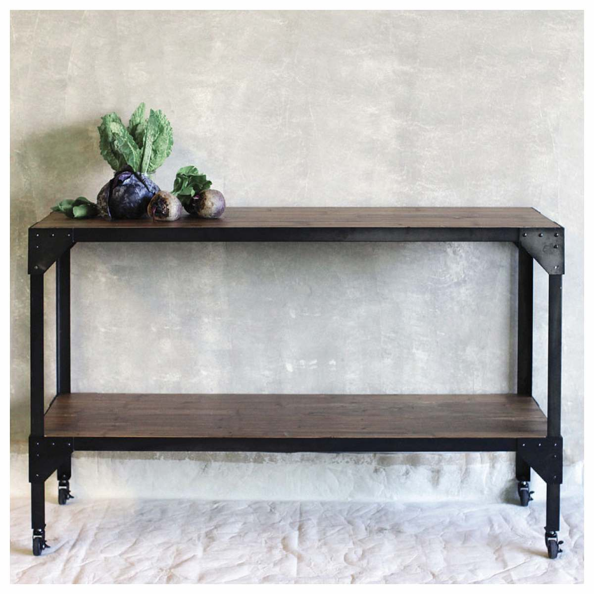Black Metal Frame Rectangle Console Table With Solid Wood Extending Within Frame Console Tables (View 17 of 30)
