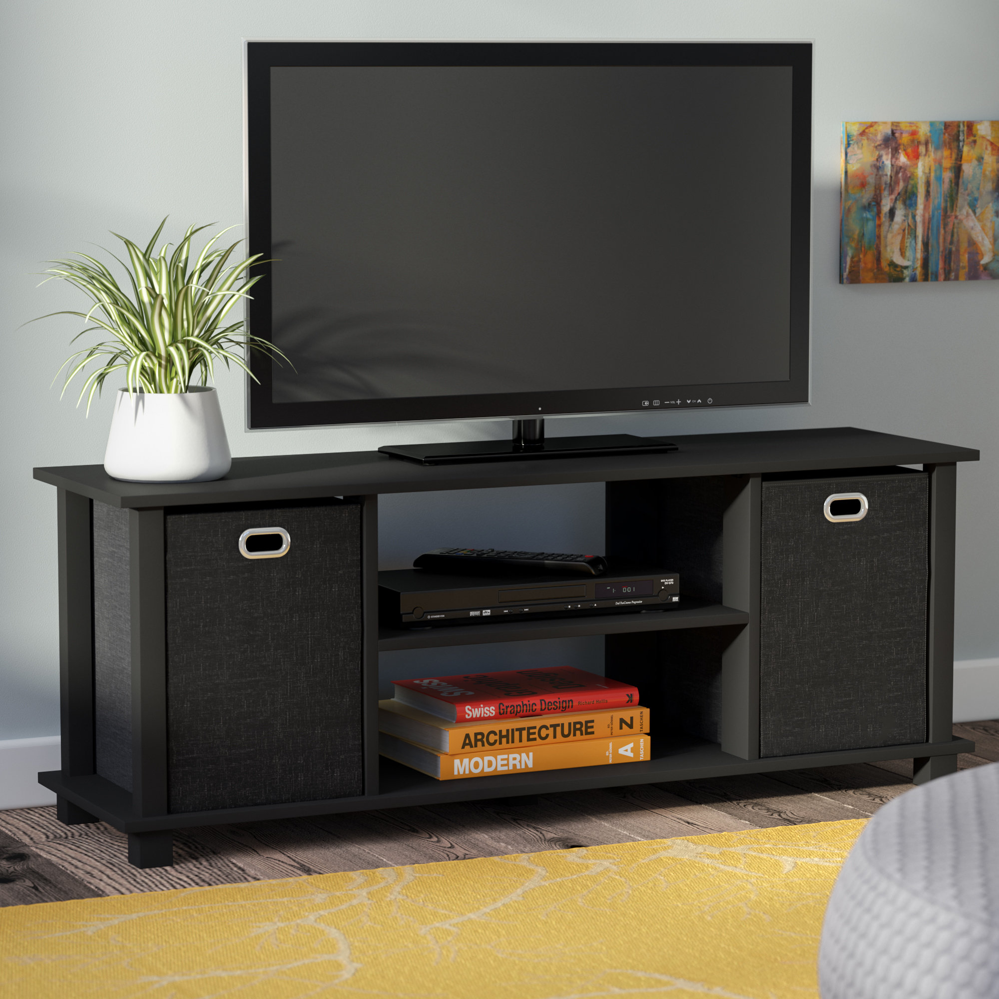 Black Tv Stands & Entertainment Units You'll Love | Wayfair.co (View 10 of 30)