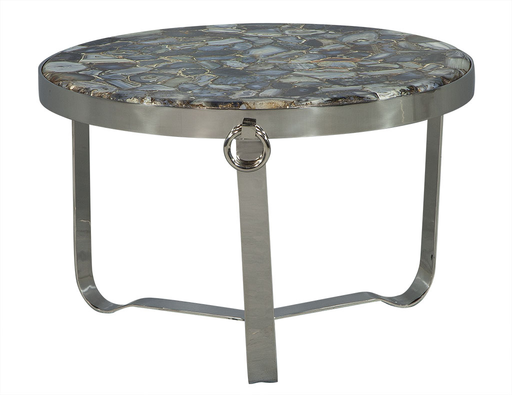 Blue Agate Stone Cocktail Table Carrocel Fine Furniture Cocktail within Mix Agate Metal Frame Console Tables (Image 6 of 30)