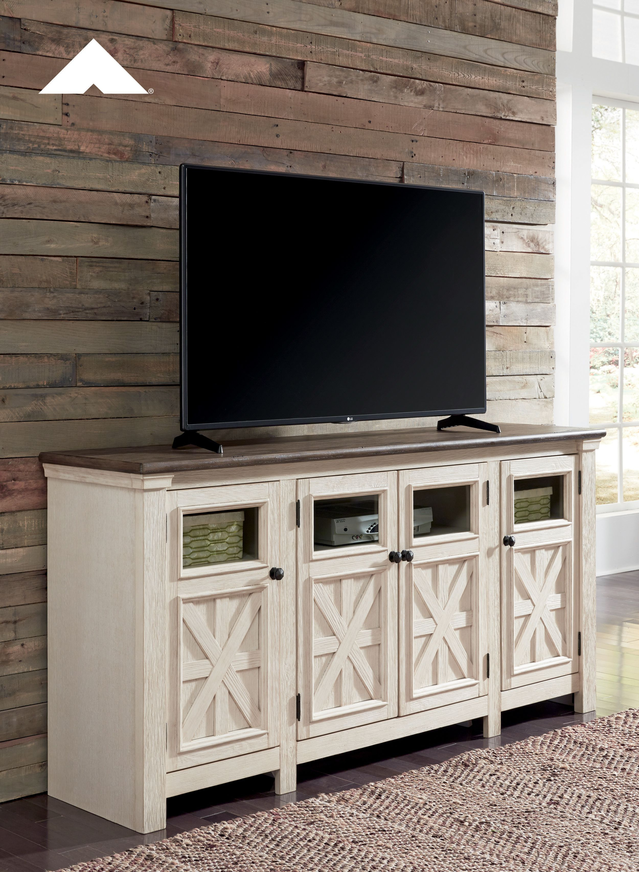 Bolanburg Two Tone Antique White And Weathered Oak Extra Large Tv Inside Abbott Driftwood 60 Inch Tv Stands (View 6 of 30)