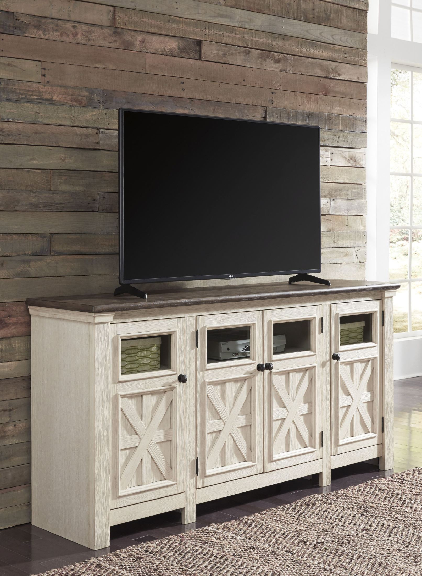 Bolanburg Weathered Gray Extra Large Tv Stand From Ashley | Coleman Regarding Vista 60 Inch Tv Stands (View 12 of 30)