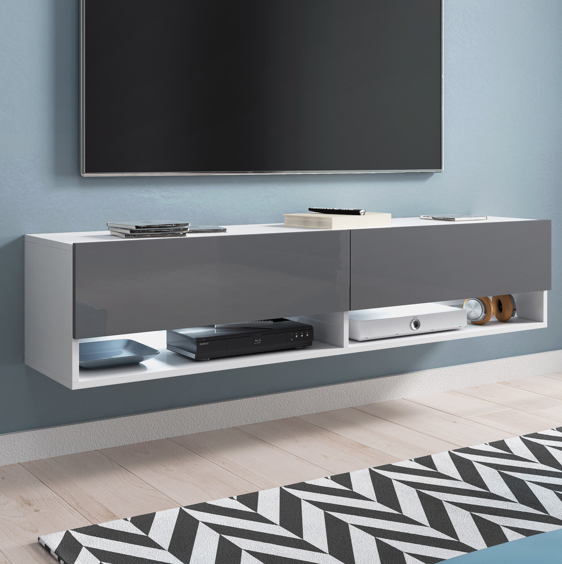 Built-In Lighting Tv Stands & Entertainment Units You'll Love intended for Valencia 70 Inch Tv Stands (Image 2 of 30)