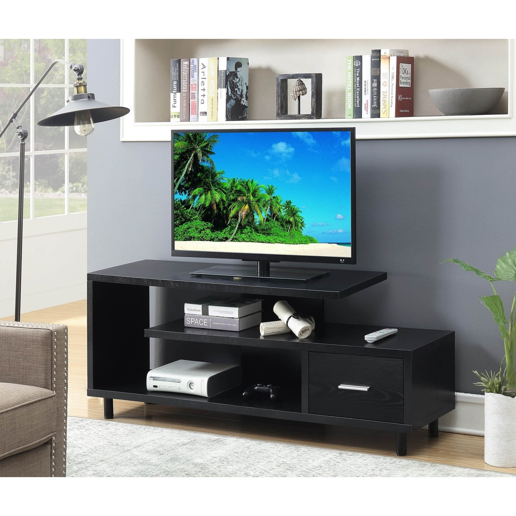 Buy Black, 42 – 60 Inches Tv Stands & Entertainment Centers Online With Canyon 64 Inch Tv Stands (View 4 of 30)
