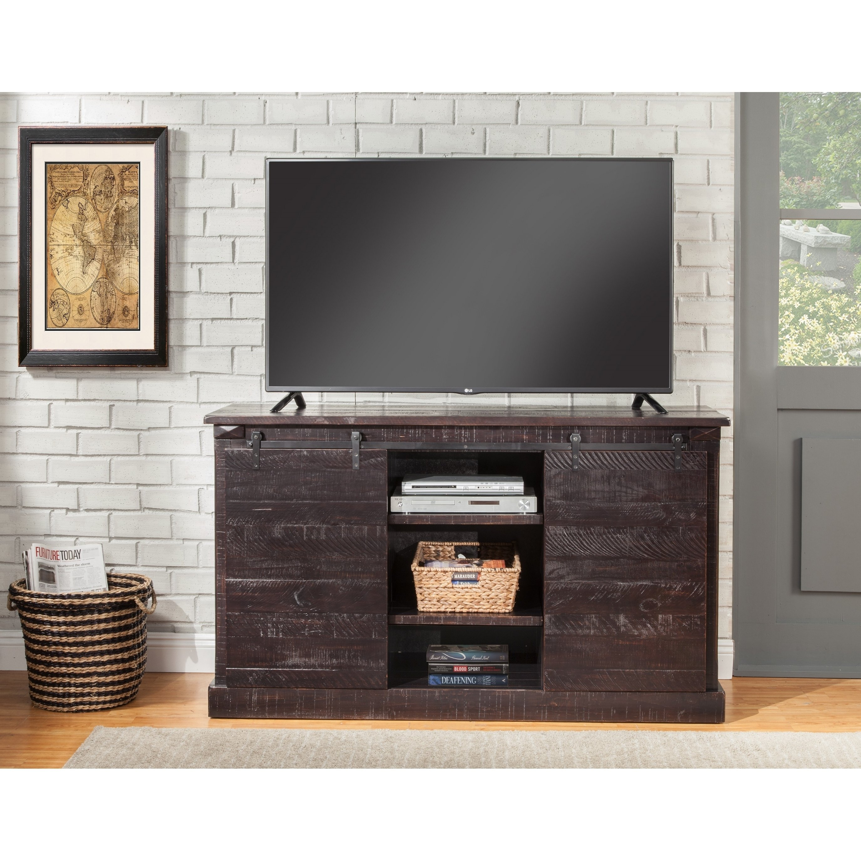 Buy Black, Rustic Tv Stands & Entertainment Centers Online At With Regard To Wakefield 97 Inch Tv Stands (View 10 of 30)