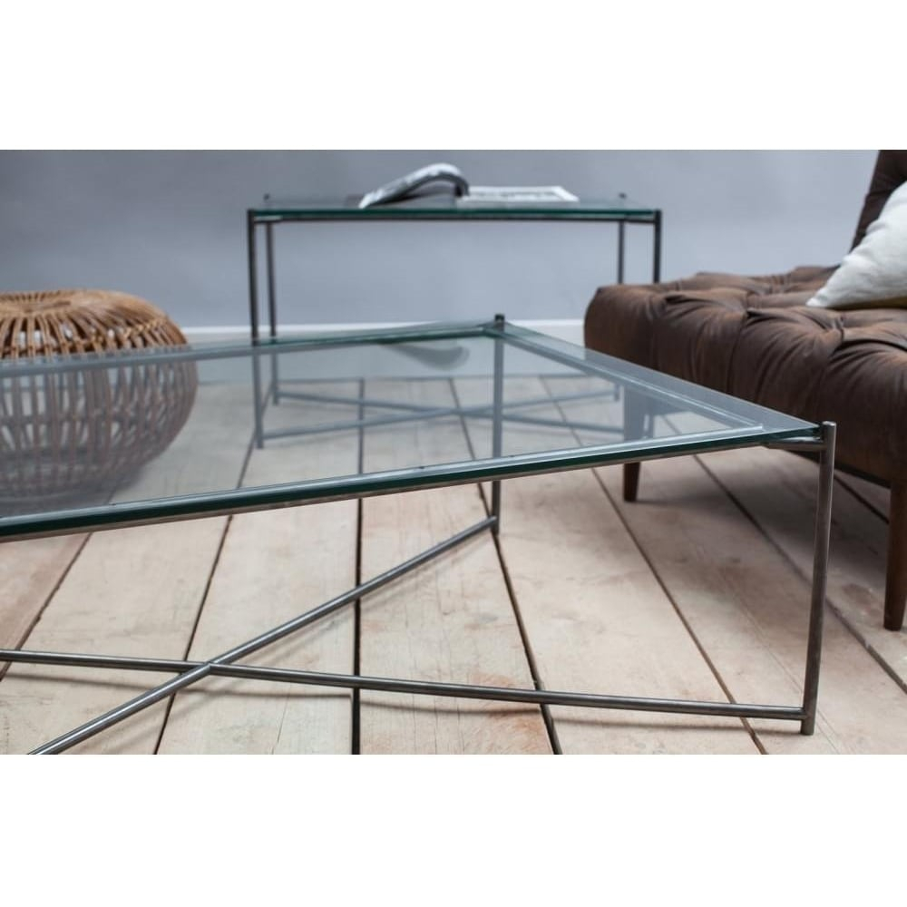 Buy Clear Glass Console Media Table & Gunmetal Base At Fusion Living For Gunmetal Media Console Tables (View 8 of 30)