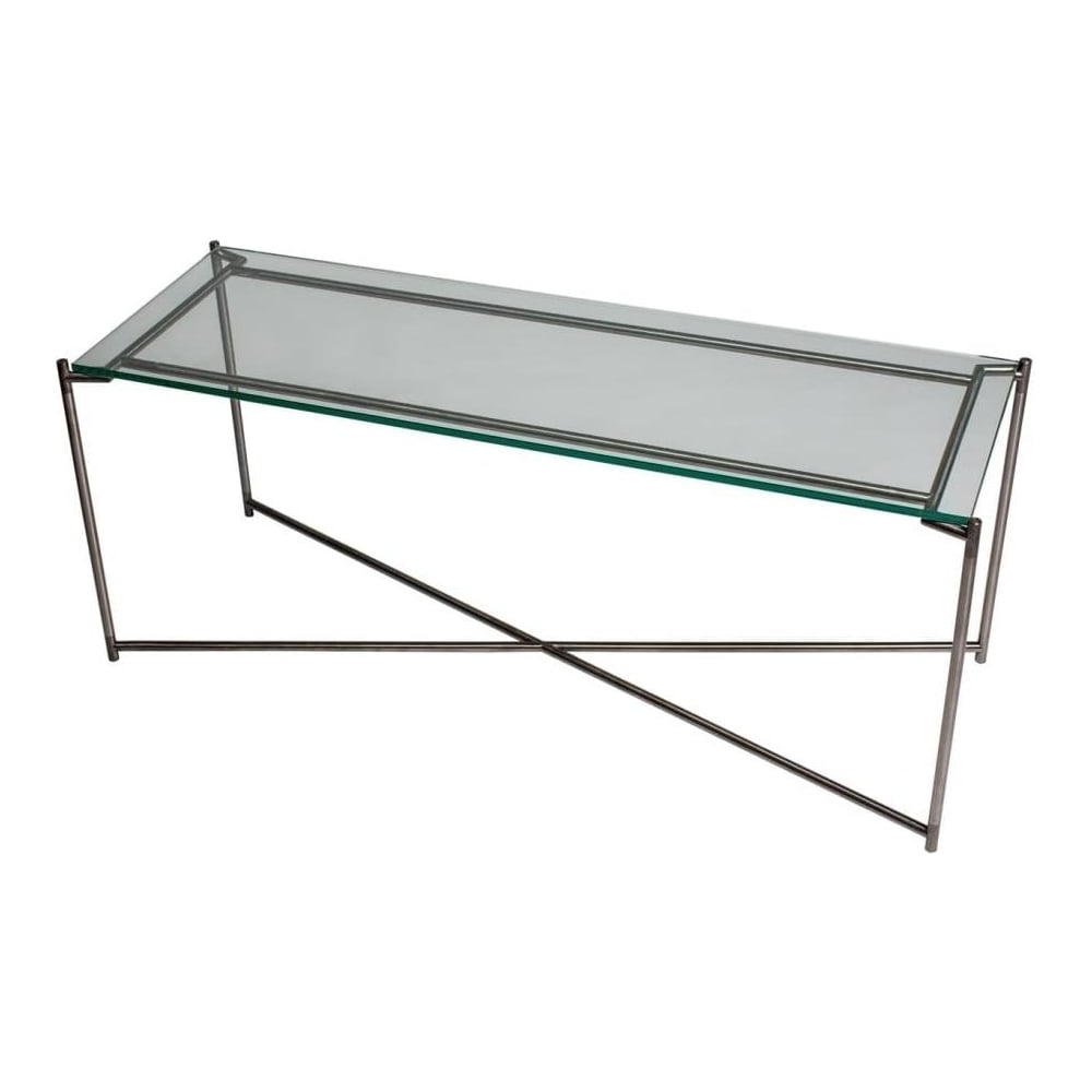 Buy Clear Glass Console Media Table & Gunmetal Base At Fusion Living With Gunmetal Media Console Tables (View 17 of 30)