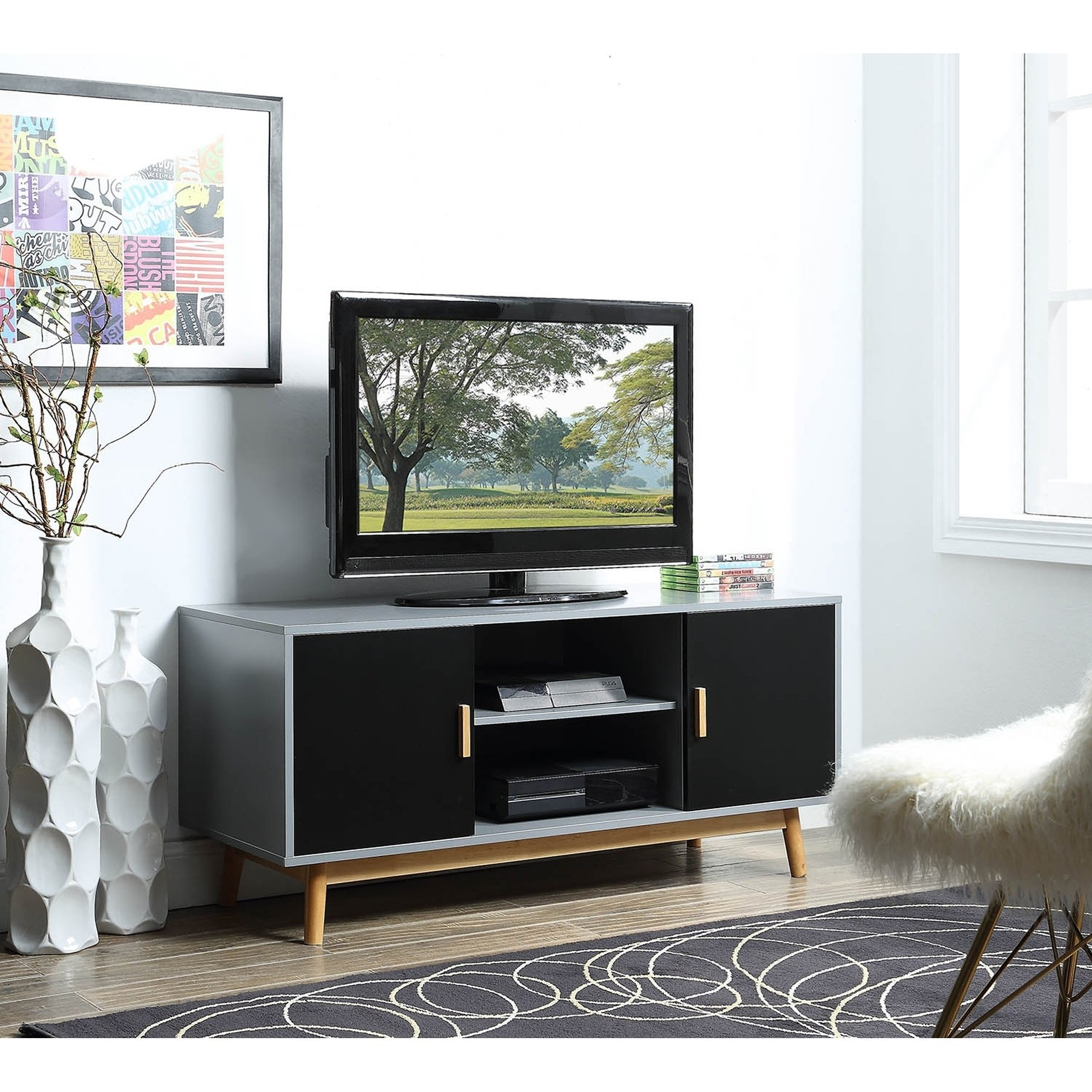 Buy Grey, 42 – 60 Inches Tv Stands & Entertainment Centers Online At In Rowan 74 Inch Tv Stands (View 23 of 30)