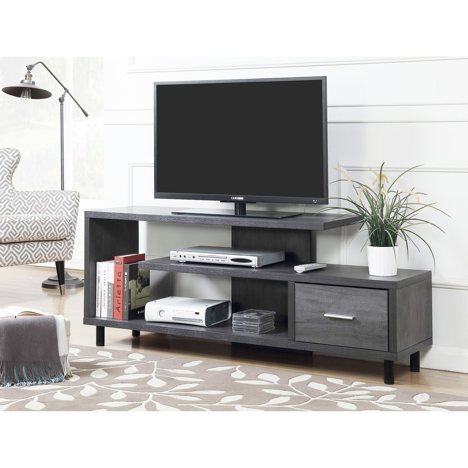 Buy Grey, 42 – 60 Inches Tv Stands & Entertainment Centers Online At Inside Rowan 74 Inch Tv Stands (View 4 of 30)