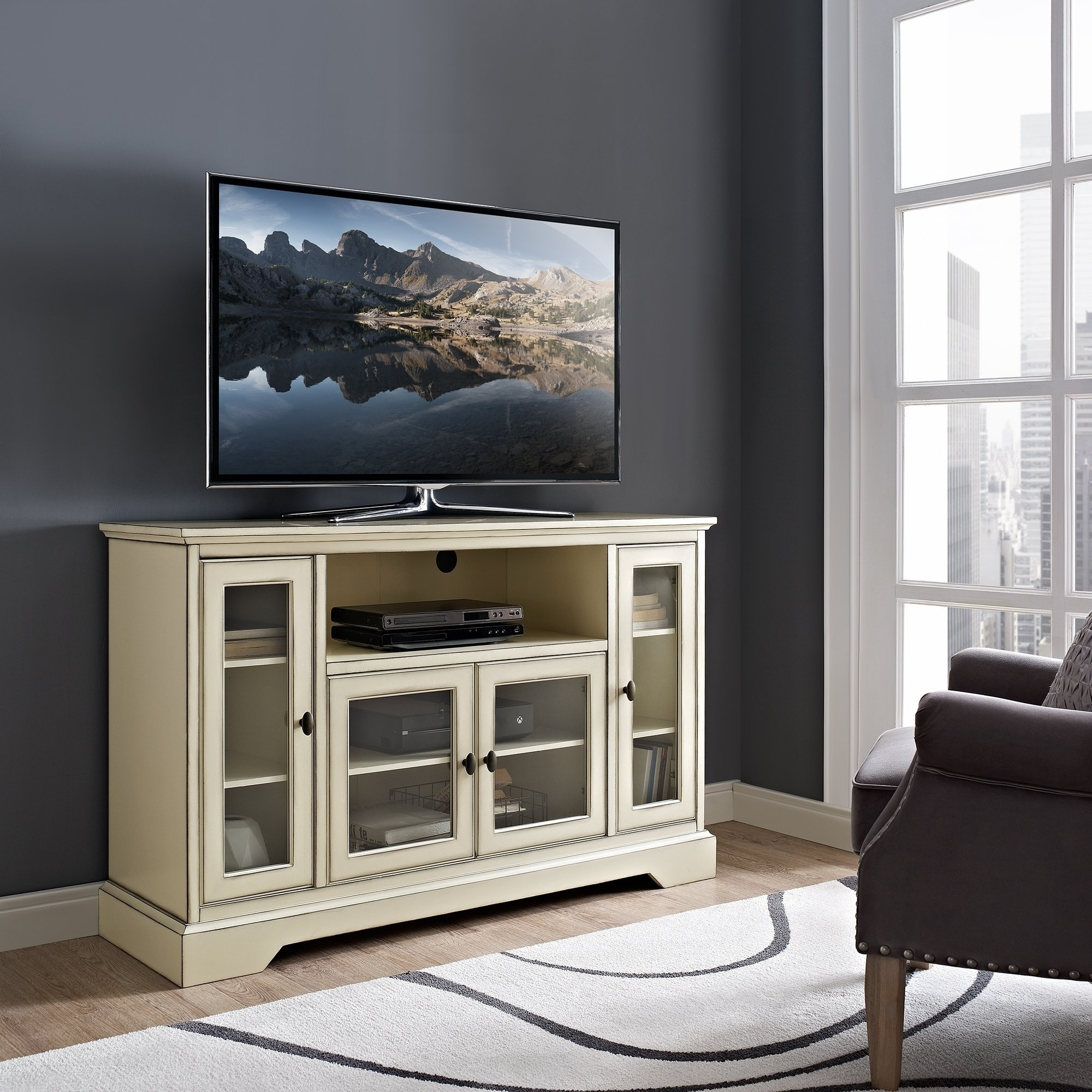 Buy Grey, 42 - 60 Inches Tv Stands & Entertainment Centers Online At pertaining to Rowan 64 Inch Tv Stands (Image 9 of 30)