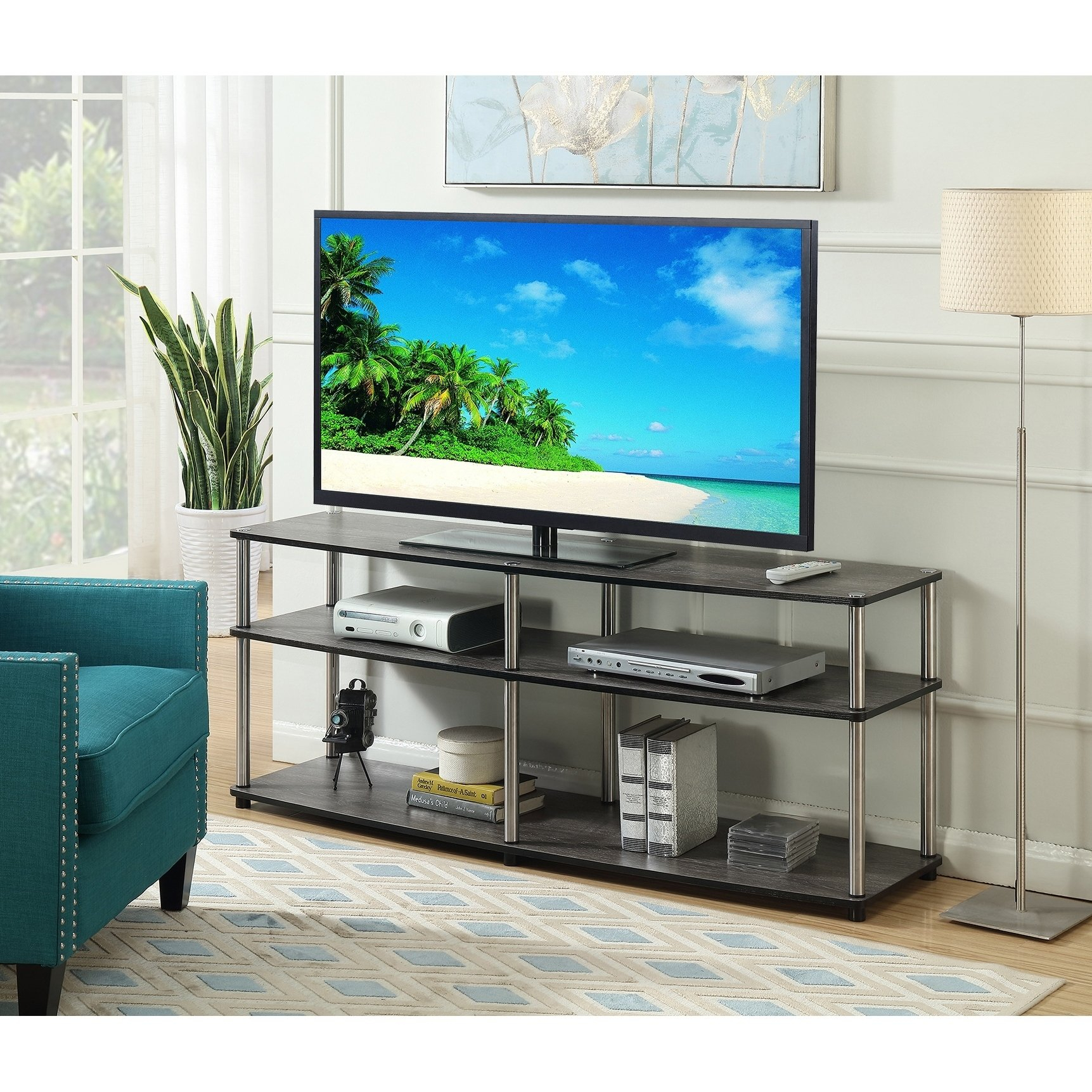 Buy Grey, 42 - 60 Inches Tv Stands & Entertainment Centers Online At pertaining to Rowan 64 Inch Tv Stands (Image 8 of 30)