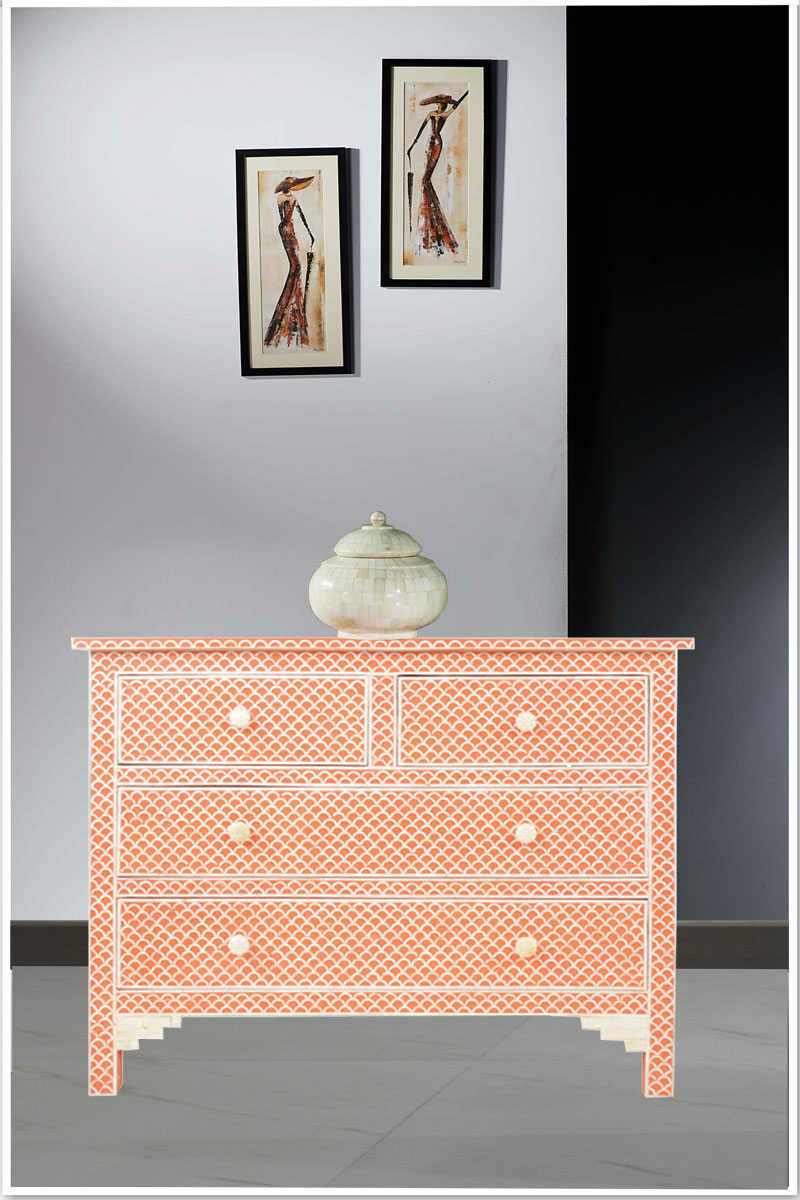 Buy Online Fish Scale Bone Inlay Commode Orange From India In Orange Inlay Console Tables (View 10 of 30)