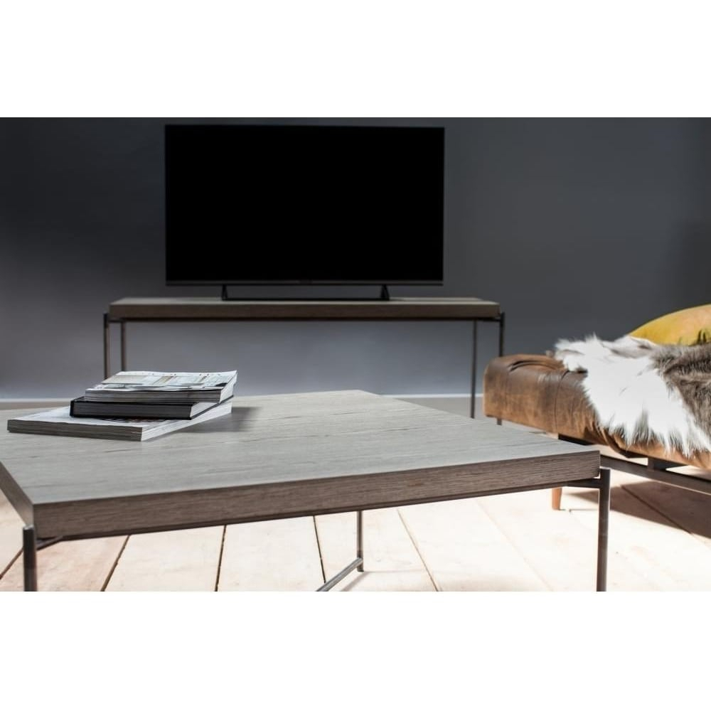 Buy Weathered Oak Console Media Table & Gunmetal Base At Fusion Living Throughout Gunmetal Media Console Tables (View 5 of 30)