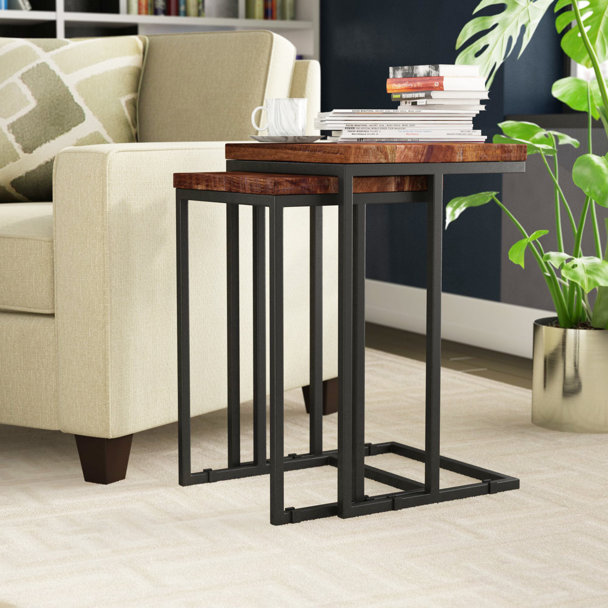 C Tables You'll Love | Wayfair intended for Mix Leather Imprint Metal Frame Console Tables (Image 2 of 30)