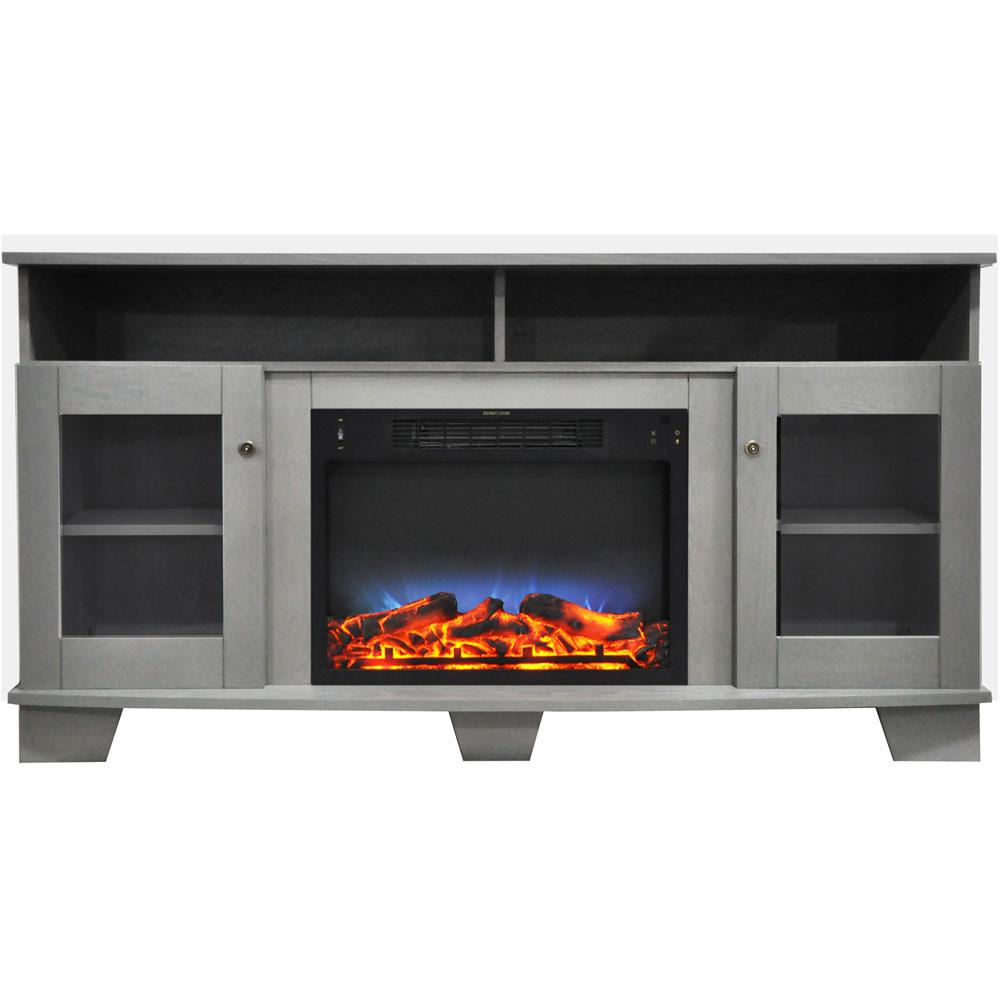 Cambridge Savona 59 In. Electric Fireplace In Gray With for Walton Grey 60 Inch Tv Stands (Image 11 of 30)