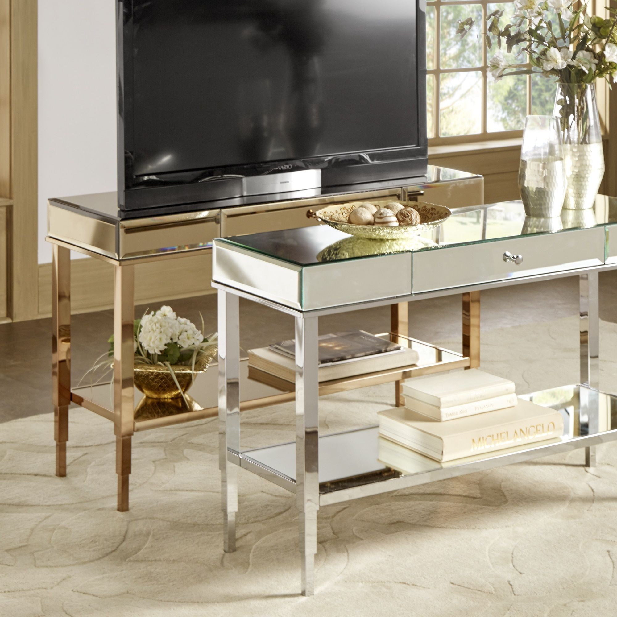 Camille Glam Mirrored Tv Stand Console Table With Drawerinspire With Willa 80 Inch Tv Stands (View 24 of 30)